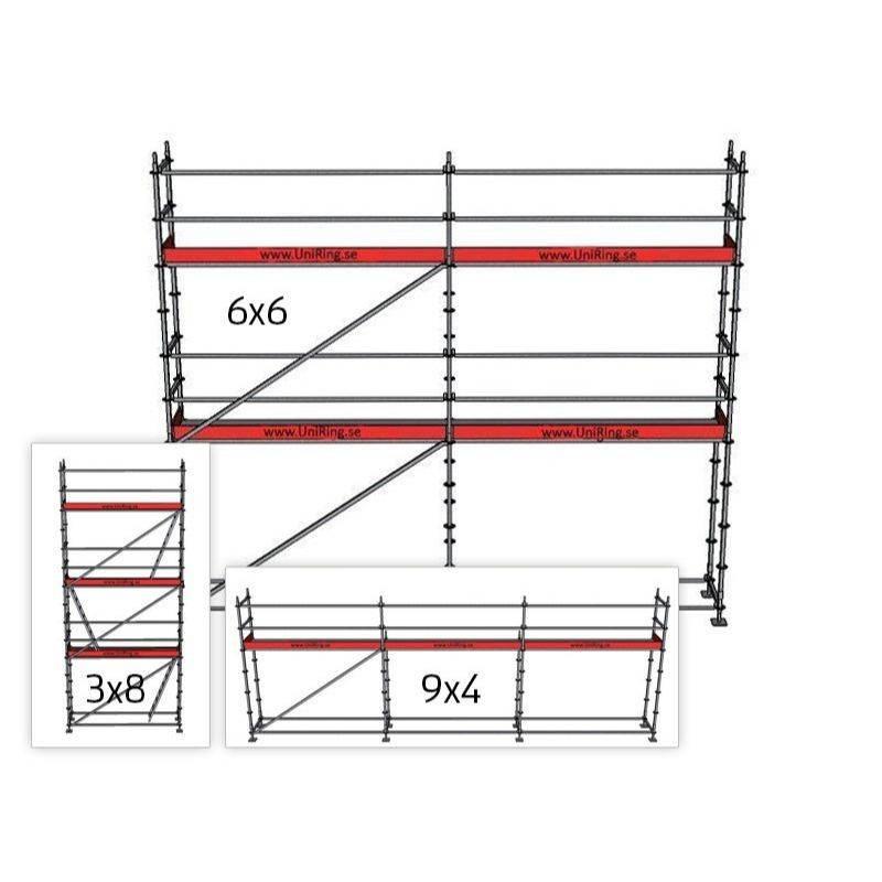 Byggställning Ställningspaket 4 + 6x9 m 109 cm stålplank Uniring | Uniring